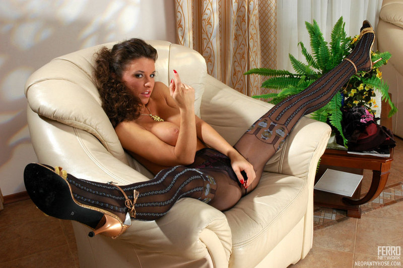 Busty Brunette Elvira Topless In Black Pantyhose 00