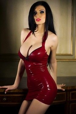Lilly Roma In Red Latex Dress